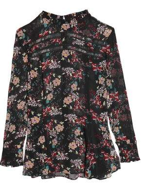 Nicholas Lattice-Trimmed Floral-Print Silk-Chiffon Peplum Blouse