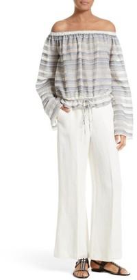 Women's Theory Nadeema Linen Flare Leg Pants $275 thestylecure.com