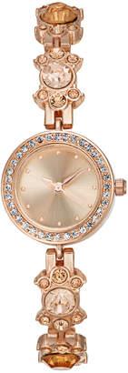 Charter Club Women's Rose Gold-Tone Crystal Flower Bracelet Watch 23mm