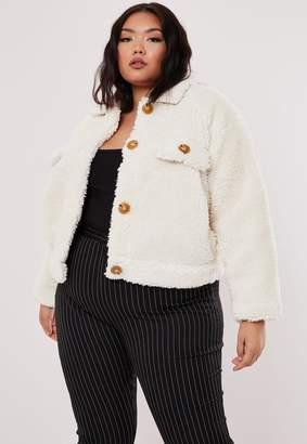 Missguided Plus Size White Cropped Utility Teddy Trucker Jacket