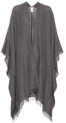 Brunello Cucinelli Embellished cashmere and silk cape
