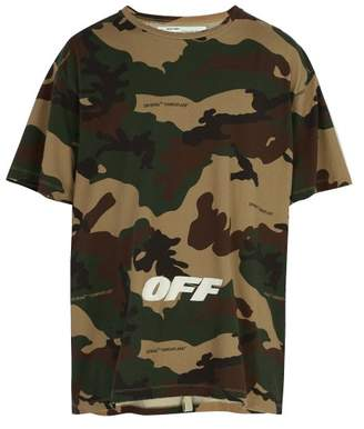Off-White Off White Logo Embroidered Camouflage Cotton T Shirt - Mens - Camouflage