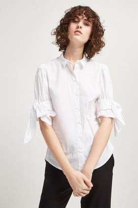 French Connection Eastside Cotton Bow Shirt