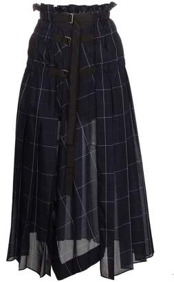 Sacai check pleated wrap midi skirt