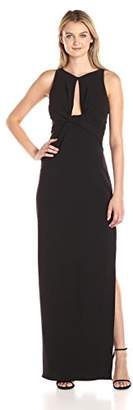 Halston Women's Sleeveless Round Neck Crepe Gown with Front Keyhole