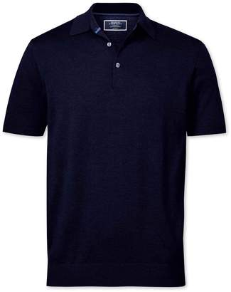Charles Tyrwhitt Navy Merino Wool Polo Collar Short Sleeve Sweater Size Large
