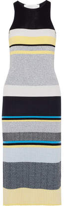 Victoria Beckham Victoria, Striped Ribbed-knit Midi Dress - Navy
