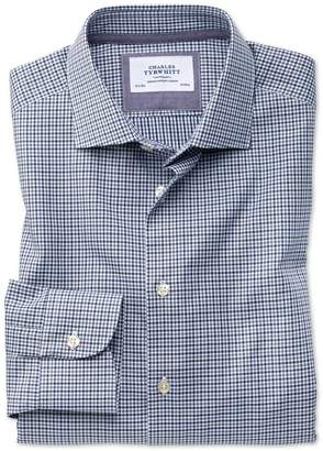 Charles Tyrwhitt Classic Fit Semi-Spread Collar Business Casual Gingham Navy and Grey Cotton Dress Shirt Single Cuff Size 17/34