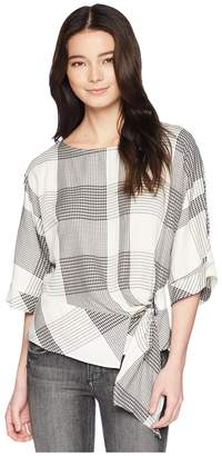 Vince Camuto Specialty Size Petite Oversized Plaid Dolman Sleeve Side Tie Blouse Women's Blouse
