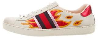 Gucci Snakeskin-Trimmed Ace Sneakers