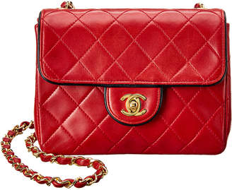 Chanel Red Quilted Lambskin Leather Mini Half Flap Bag