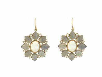 Irene Neuwirth Large Flower Earrings in Moonstone and Labradorite with Diamonds