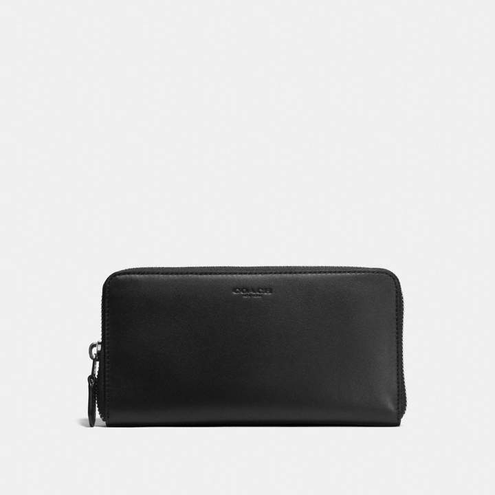 Coach Accordion Zip Wallet - BLACK/DARK GUNMETAL - STYLE
