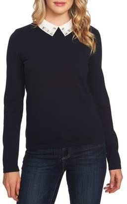 CeCe Embellished Collar Cotton Blend Sweater