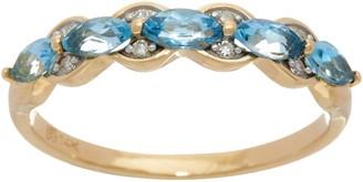 Marquise Santa Maria Aquamarine Band Ring, 14K Gold 0.50 cttw
