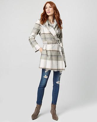 Le Château Check Print Wool Blend Wrap Coat