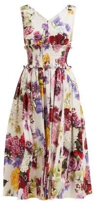 Dolce & Gabbana Rose And Hydrangea Print Cotton Poplin Midi Dress - Womens - White Multi