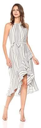 T Tahari Women's Vitala High-Low Halter Striped Dress