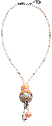 Antica Murrina Papaya 3 Orange Pendant Necklace w/Pastel Murano Glass Beads $65 thestylecure.com