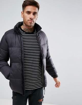 Pull&Bear Puffer Jacket In Black