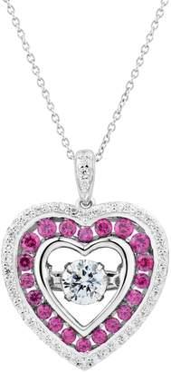 Diamonluxe DiamonLuxe 9/10 Carat T.W. Simulated Diamond Floating Stone Heart Pendant