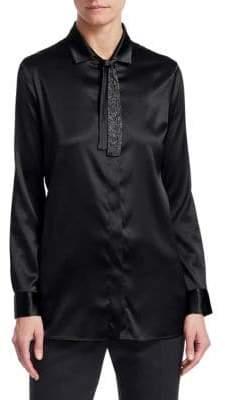 Fabiana Filippi Brilliant Neck-Tie Silk Shirt