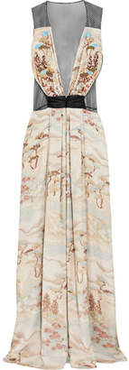Giorgio Armani Embellished Tulle And Silk-organza Gown - Beige