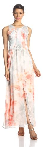 Vince Camuto Women's Printed Maxi Dress with Cascade-Front Drape Dress