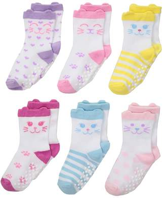 Jefferies Socks Non-Skid Cat Socks 6-Pack Girls Shoes