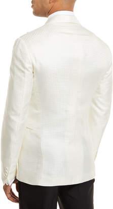 Ralph Lauren Tonal Houndstooth One-Button Dinner Jacket