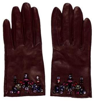 Prada Embellished Leather Gloves