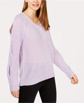 Crave Fame Juniors' V-Neck Twisted Long-Sleeve Sweater
