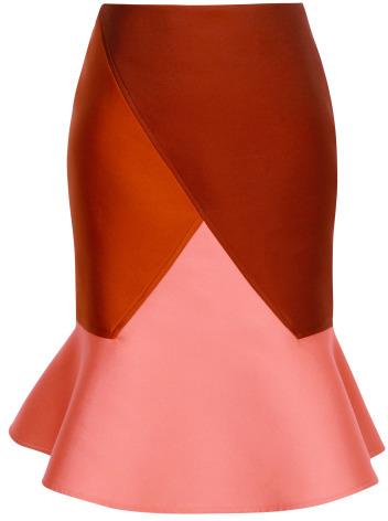 Preorder Ostwald Helgason Doubleface Jacquard Diagonal Flare Skirt In Rust