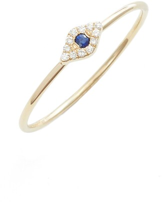 Ef Collection Evil Eye Diamond & Sapphire Stack Ring