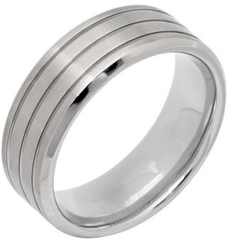 Unbranded Men's Titanium Multi-Finish Grooved Wedding Band Mens Ring