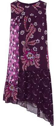 Anna Sui Asymmetric Paneled Printed Silk-Chiffon Mini Dress