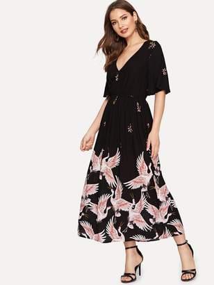 Shein Flutter Sleeve Crane Print Dress
