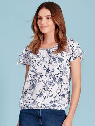 M&Co Floral print bubble hem top