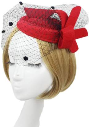 Vimans Women's Fascinator Wool Felt Pillbox Hat Cocktail Party Wedding Veil