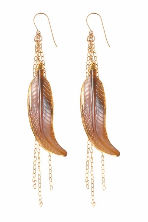 Heather Gardner Gold Wrapped Feather Chain Earrings in Brown