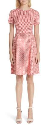 Lela Rose Polka Dot Stretch Jacquard Seamed Dress (Nordstrom Exclusive)