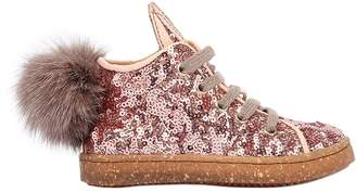Ocra Sequin Leather Sneakers W/ Pompoms