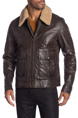 Belstaff Mentmore Blouson Genuine Shearling Trimmed Leather Coat