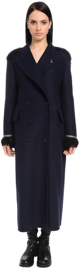 Oversized Mantel Aus Wollstoff