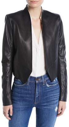 Alice + Olivia Harvey Draped Open-Front Leather Jacket