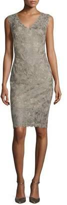 Tadashi Shoji Sleeveless Lace Sheath Dress, Smoke Pearl $368 thestylecure.com