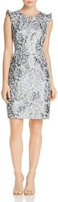 Elie Tahari Stefana Metallic Floral Sheath Dress
