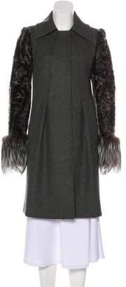 Alberta Ferretti Fur-Accented Wool Coat