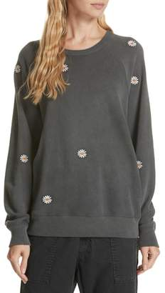 The Great The Daisy Embroidered College Sweatshirt