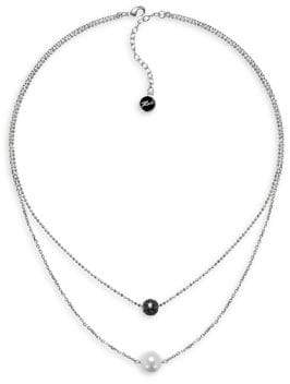 Karl Lagerfeld Pave & Pearl Crystal, Swarovski Crystal & 6MM Pearl Two-Row Necklace